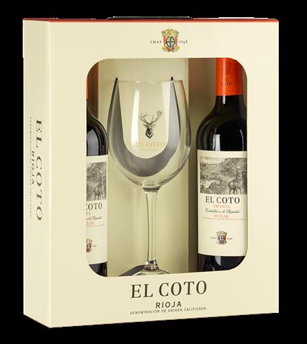Afbeelding van El Coto Crianza (2 flessen met glas in geschenkverpakking)
